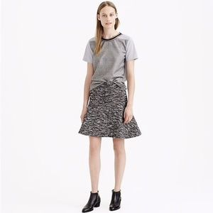 J Crew Flared Plaza Skirt Gray Tweed Boucle